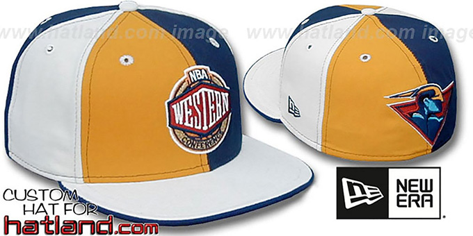 Warriors CONFERENCE 'PINWHEEL' Gold-Navy-White Fitted Hat : pictured without stickers that these products are shipped with