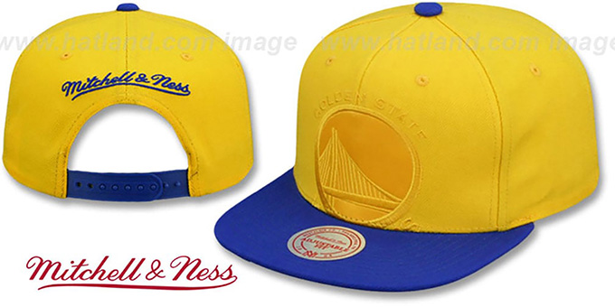 Warriors 'CROPPED SATIN SNAPBACK' Gold-Royal Adjustable Hat by Mitchell and Ness : pictured without stickers that these products are shipped with