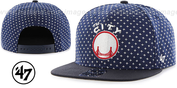 Warriors 'CROSSBREED SNAPBACK' Navy Hat by Twins 47 Brand : pictured without stickers that these products are shipped with