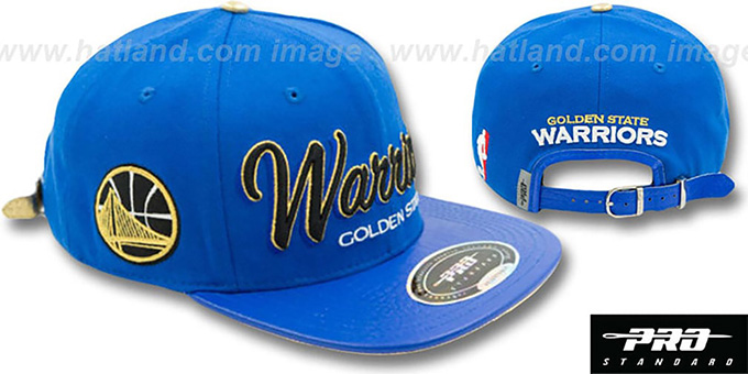 Warriors 'DROP SHADOW SCRIPT STRAPBACK' Royal Hat by Pro Standard : pictured without stickers that these products are shipped with