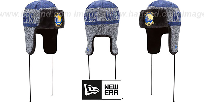 Warriors 'FROSTWORK TRAPPER' Royal Knit Hat by New Era : pictured without stickers that these products are shipped with