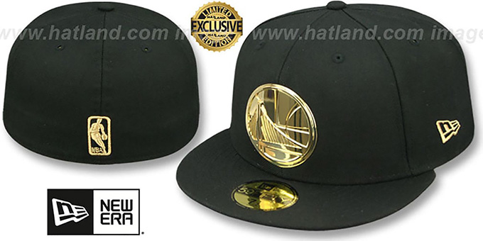 Golden State Warriors GOLD METAL-BADGE Black Fitted Hat 31627a862317