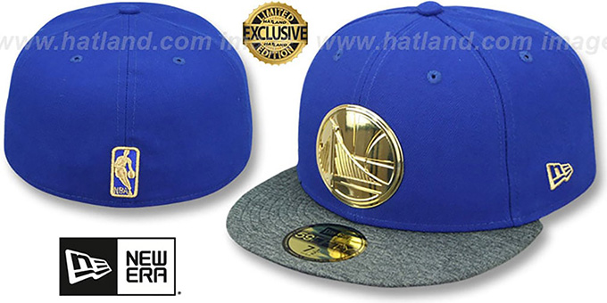 promo code c29ef 689de Warriors  GOLD METAL-BADGE  Royal-Shadow Tech Fitted Hat by New Era