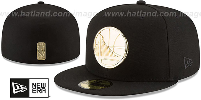 Golden State Warriors GOLDEN-BADGE Black Fitted Hat a4a3bb6b5adf