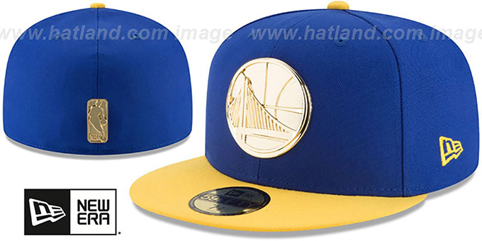 Warriors 'GOLDEN-BADGE' Royal-Gold Fitted Hat by New Era : pictured without stickers that these products are shipped with
