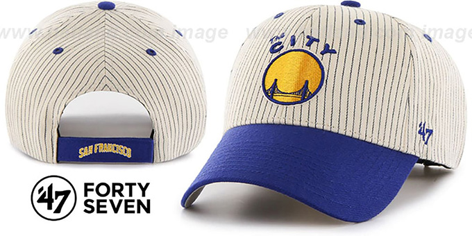 Warriors 'HOME-RUN PINSTRIPE STRAPBACK' Hat by Twins 47 Brand : pictured without stickers that these products are shipped with