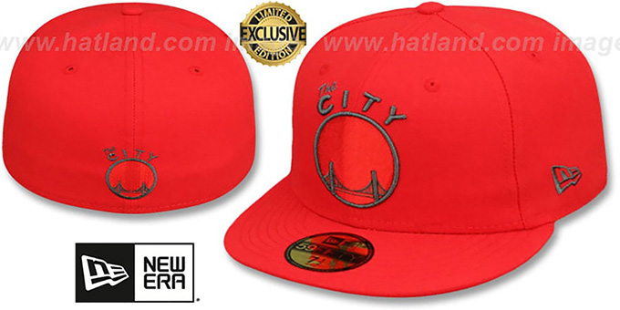 Warriors 'HWC NBA TEAM-BASIC' Fire Red-Charcoal Fitted Hat by New Era : pictured without stickers that these products are shipped with
