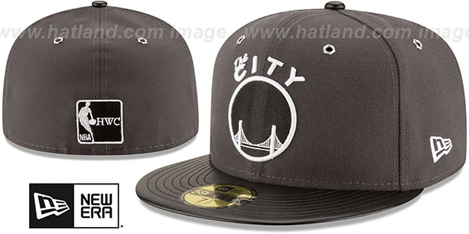 Warriors 'METAL HOOK' Grey-Black Fitted Hat by New Era : pictured without stickers that these products are shipped with