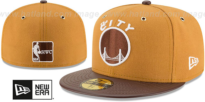 Warriors 'METAL HOOK' Wheat-Brown Fitted Hat by New Era : pictured without stickers that these products are shipped with