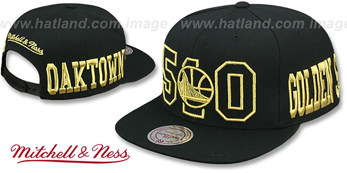 Warriors 'METALLIC AREA-CODE SNAPBACK' Black Hat by Mitchell and Ness