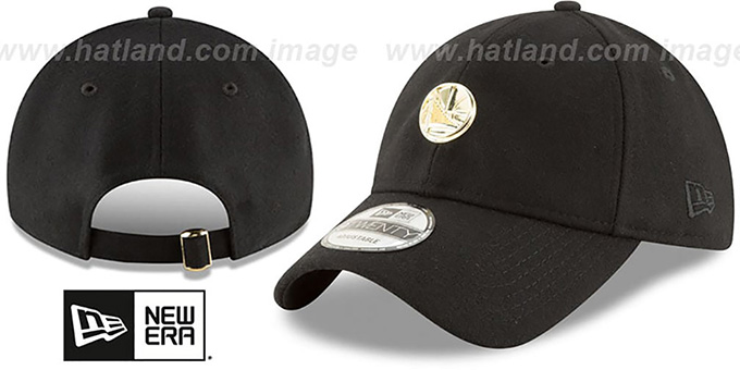 Warriors 'MINI GOLD METAL-BADGE STRAPBACK' Black Hat by New Era