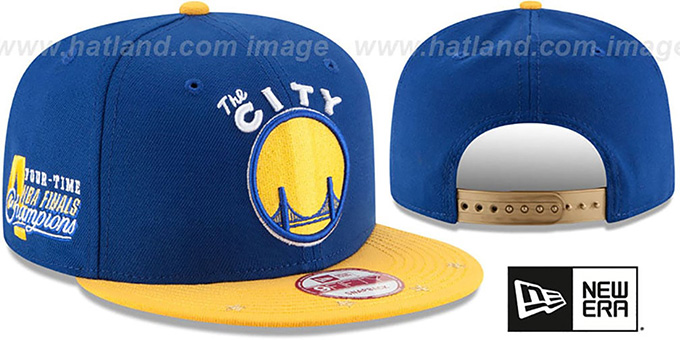 Warriors 'NBA STAR-TRIM SNAPBACK' Royal-Gold Hat by New Era : pictured without stickers that these products are shipped with