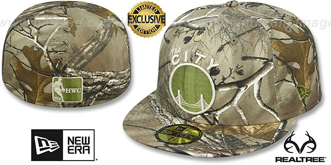 Warriors 'NBA TEAM-BASIC' Realtree Camo Fitted Hat by New Era : pictured without stickers that these products are shipped with