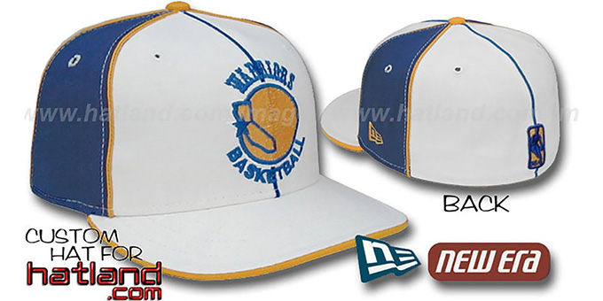Warriors 'OLD SCHOOL PINWHEEL-3' White-Royal Fitted Hat