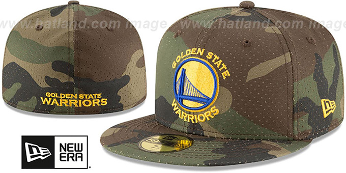 Warriors 'PERFORATED CAMO' Army Fitted Hat by New Era : pictured without stickers that these products are shipped with