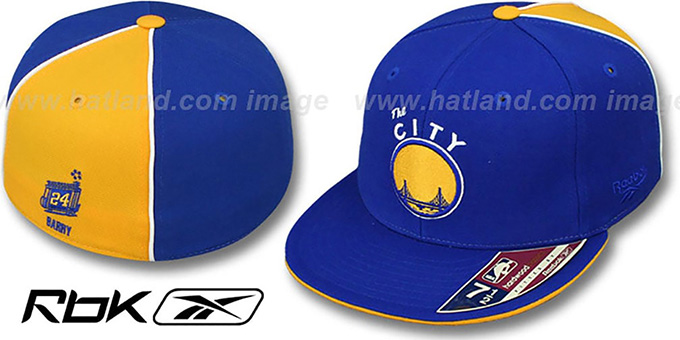Warriors 'RICK BARRY SWINGMAN' Royal-Gold Fitted Hat by Reebok : pictured without stickers that these products are shipped with