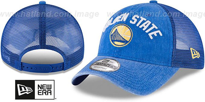 Warriors 'RUGGED-TEAM TRUCKER SNAPBACK' Royal Hat by New Era : pictured without stickers that these products are shipped with