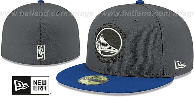 Warriors 'SHADER MELT-2' Grey-Royal Fitted Hat by New Era : pictured without stickers that these products are shipped with