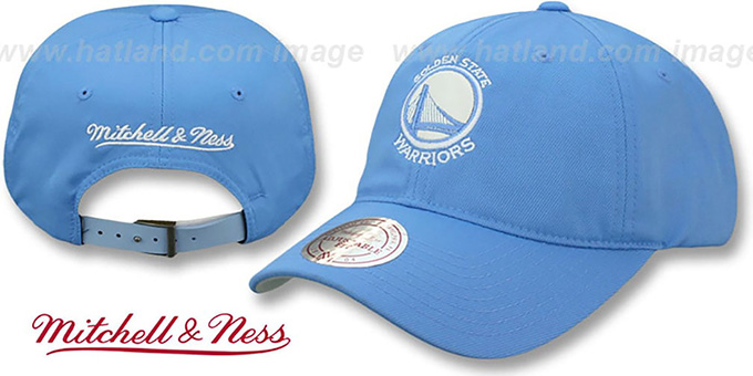 Warriors SLOUCH 'POWDER STRAPBACK' Hat Mitchell and Ness : pictured without stickers that these products are shipped with