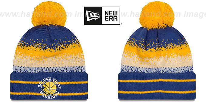 Warriors 'SPEC-BLEND' Knit Beanie Hat by New Era : pictured without stickers that these products are shipped with