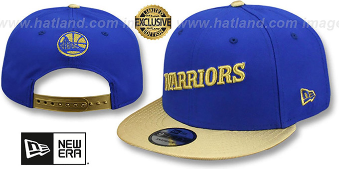 Warriors 'SWINGMAN SNAPBACK' Royal-Gold Hat by New Era : pictured without stickers that these products are shipped with