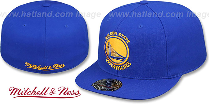 Warriors 'TEAM-BASIC' Royal Fitted Hat by Mitchell and Ness : pictured without stickers that these products are shipped with
