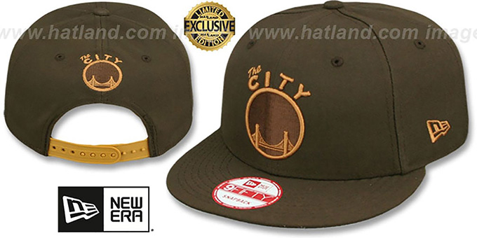 Warriors 'TEAM-BASIC SNAPBACK' Brown-Wheat Hat by New Era : pictured without stickers that these products are shipped with