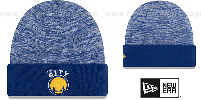 361302957 Golden State Warriors TEAM-RAPID Royal-White Knit Beanie Hat by New Era
