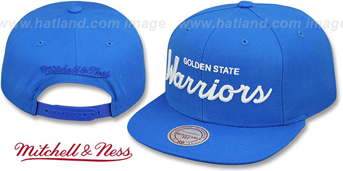 Warriors 'TEAM-SCRIPT SNAPBACK' Blue Hat by Mitchell and Ness : pictured without stickers that these products are shipped with