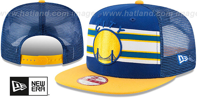 Warriors 'THROWBACK-STRIPE SNAPBACK' Royal-Gold Hat by New Era : pictured without stickers that these products are shipped with