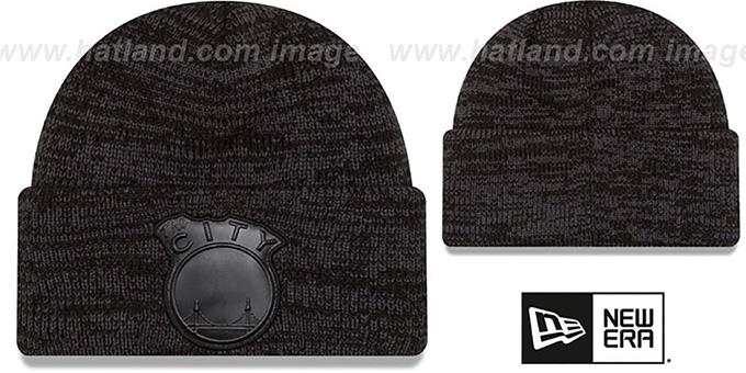 pretty nice 9d5a5 18aa9 Warriors  TONAL TRICK  Black-Grey Knit Beanie Hat by New Era