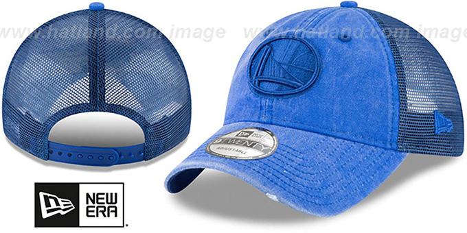 wholesale dealer edd65 a5de6 Warriors  TONAL-WASHED TRUCKER SNAPBACK  Royal Hat by New Era