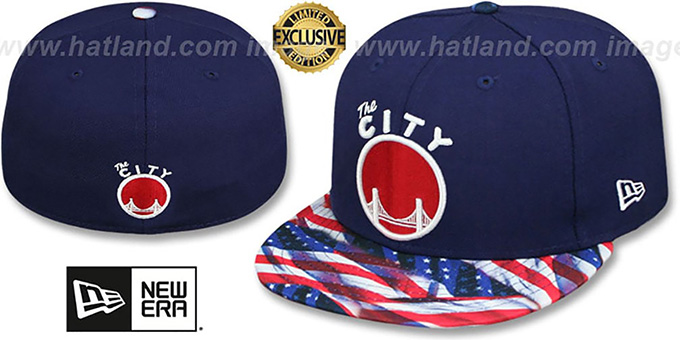 Warriors 'USA WAVING-FLAG' Navy Fitted Hat by New Era : pictured without stickers that these products are shipped with