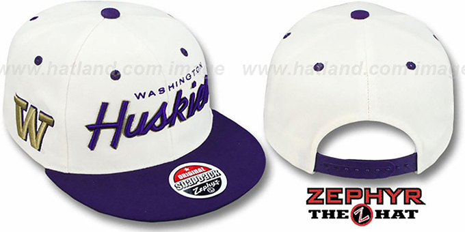 Washington '2T HEADLINER SNAPBACK' White-Purple Hat by Zephyr : pictured without stickers that these products are shipped with