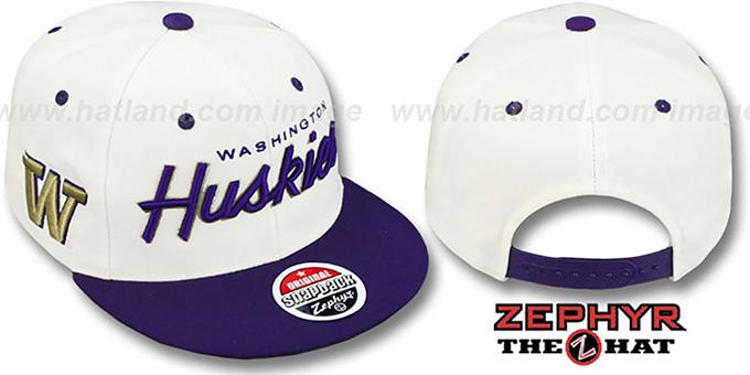 d202967465d11 Washington  2T HEADLINER SNAPBACK  White-Purple Hat by Zephyr