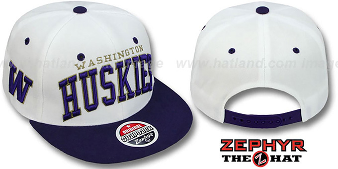 Washington '2T SUPER-ARCH SNAPBACK' White-Purple Adjustable Hat by Zephyr : pictured without stickers that these products are shipped with