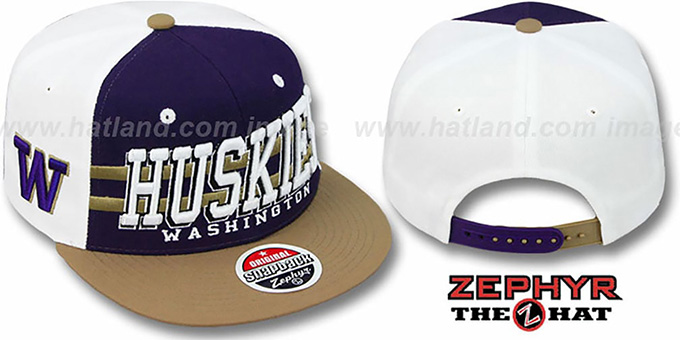 Washington '2T SUPERSONIC SNAPBACK' Purple-Gold Hat by Zephyr : pictured without stickers that these products are shipped with
