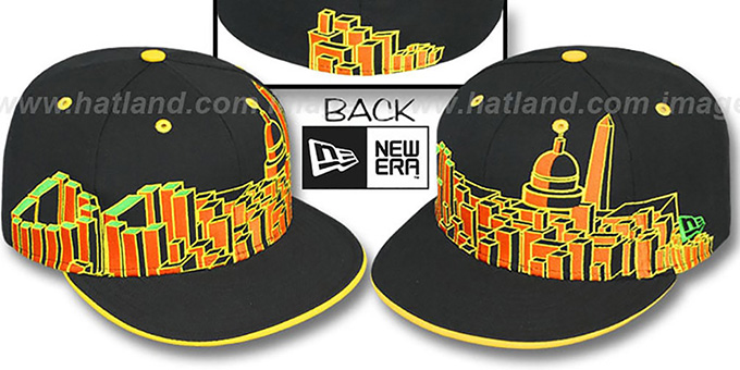 Washington 'DC BLOCK CITY-SKYLINE' Rasta Fitted Hat by New Era : pictured without stickers that these products are shipped with