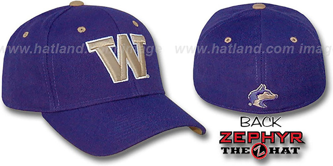 Washington 'DH' Fitted Hat by ZEPHYR - purple : pictured without stickers that these products are shipped with