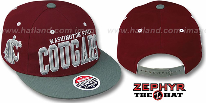 Washington State '2T SUPER-ARCH SNAPBACK' Burgundy-Grey Adjustable Hat by Zephyr : pictured without stickers that these products are shipped with
