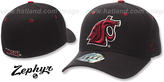 Washington State 'DH' Fitted Hat by Zephyr - black : pictured without stickers that these products are shipped with