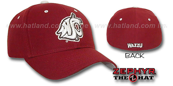 Washington State 'DH' Fitted Hat by Zephyr - burgundy : pictured without stickers that these products are shipped with