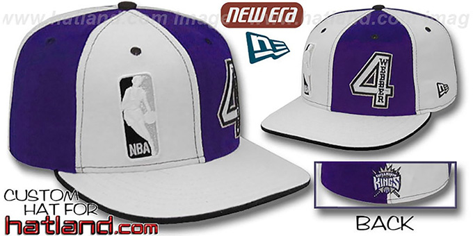 Webber 'DOUBLE WHAMMY' White-Purple Fitted Hat : pictured without stickers that these products are shipped with
