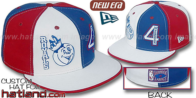 Webber 'DOUBLE WHAMMY' White-Royal-Red Fitted Hat : pictured without stickers that these products are shipped with