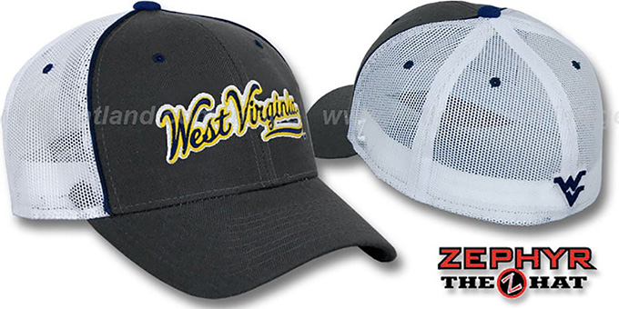 West Virgiia 'SCRIPT MESH' Fitted Hat by Zephyr - Grey White : pictured without stickers that these products are shipped with