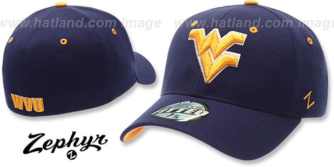 West Virginia 'DH-4' Fitted Hat by Zephyr - navy : pictured without stickers that these products are shipped with