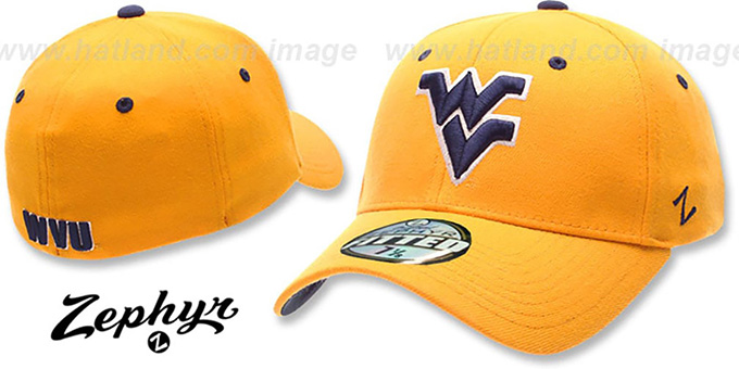 West Virginia 'DH' Fitted Hat by ZEPHYR - gold : pictured without stickers that these products are shipped with