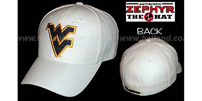 West Virginia 'DH' Fitted Hat by ZEPHYR - white : pictured without stickers that these products are shipped with