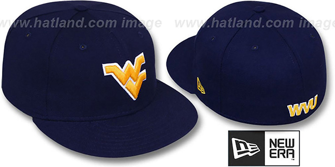 73b0d5501d287 West Virginia  NCAA-BASIC  Navy Fitted Hat by New Era