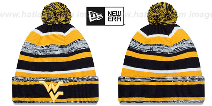 West Virginia 'NCAA-STADIUM' Knit Beanie Hat by New Era : pictured without stickers that these products are shipped with